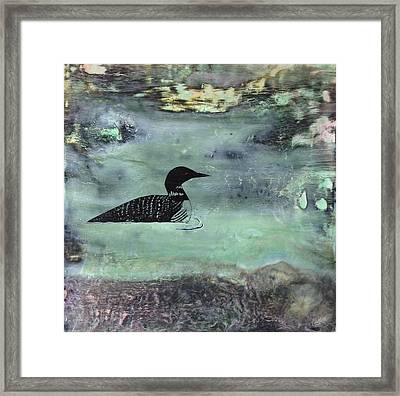 Manitoba Loon In The Rocks Framed Print by Sandy Glass