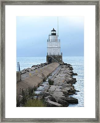 Manitowoc Breakwater Lighthouse  Framed Print by Keith Stokes