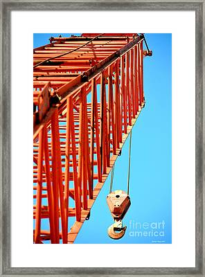 Manitowoc Red Boom Block And Hook Framed Print by Maria Urso