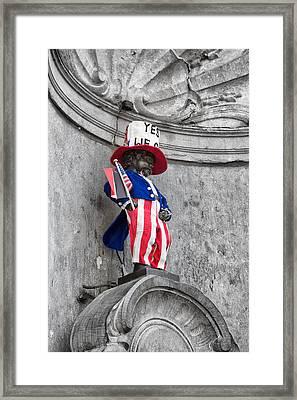 Manneken Pis On The Fourth Of July Framed Print