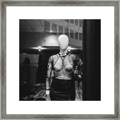 Mannequin In Window Framed Print by Dylan Murphy