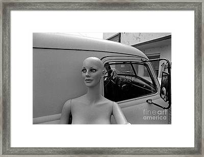 Manniquin And Old Truck Framed Print by Arni Katz