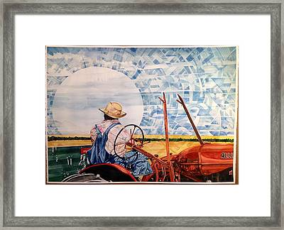 Manny During Wheat Harvest Framed Print by Lance Wurst