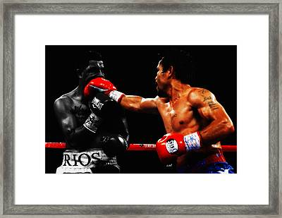 Manny Pacquiao Making Contact Framed Print