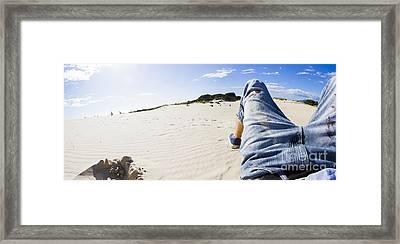 Man's Legs In Jeans On Sandy Beach Framed Print