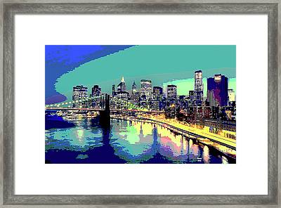 Manttan At Night Framed Print by Charles Shoup