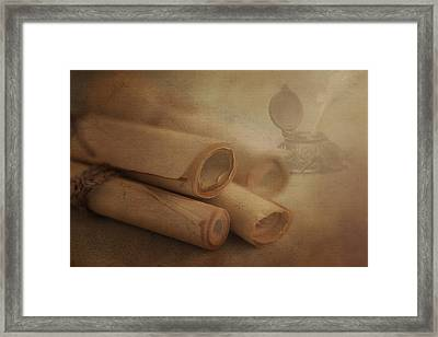 Manuscript Scrolls Still Life Framed Print by Tom Mc Nemar