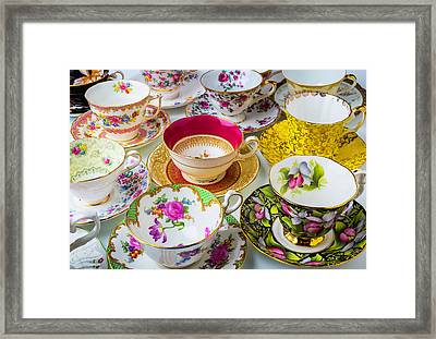 Many Beautiful Tea Cups Framed Print