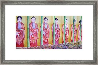Many Budhas Framed Print by Hiske Tas Bain