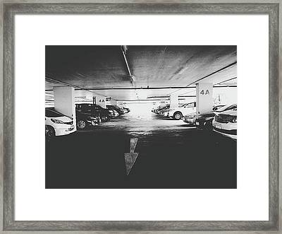 Many Cars In Park Building Black And White Framed Print by Sirikorn Techatraibhop