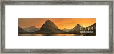 Many Glacier Sunset Beams Framed Print by Adam Jewell