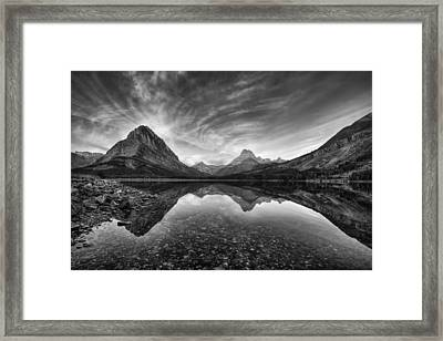Many Glacier Zen In Black And White Framed Print by Mark Kiver