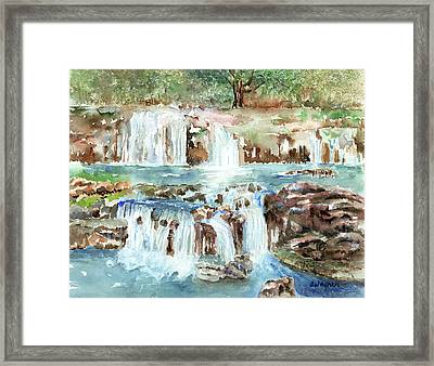 Many Waterfalls Framed Print