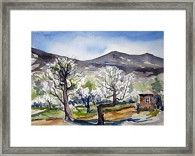 Framed Print featuring the painting Manzanar Orchard by Pat Crowther