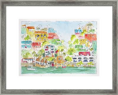Framed Print featuring the painting Manzanillo Coastline by Pat Katz