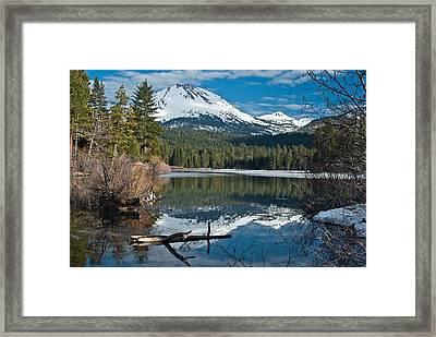 Manzanita Lake Reflects On Mount Lassen Framed Print