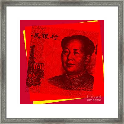 Framed Print featuring the digital art Mao Zedong Pop Art - One Yuan Banknote by Jean luc Comperat