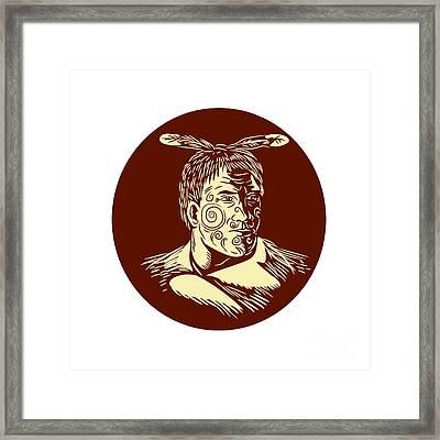 Maori Chieftain Head Oval Woodcut Framed Print by Aloysius Patrimonio