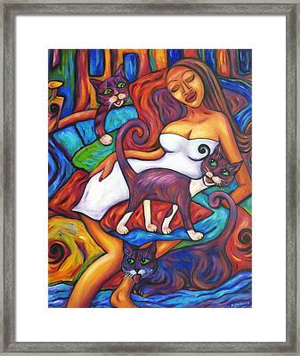 Maori Girl And Three Cats Framed Print by Dianne  Connolly