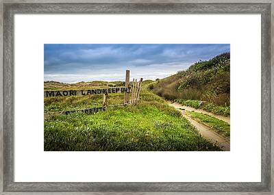 Maori Land - Keep Out Framed Print by Michael Lees