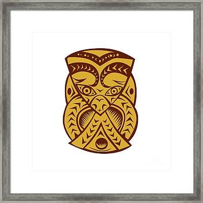 Maori Mask Woodcut Framed Print