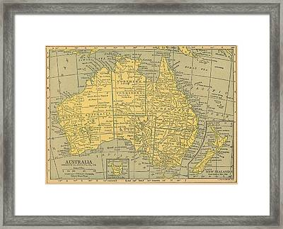 Framed Print featuring the drawing Map Australia by Digital Art Cafe