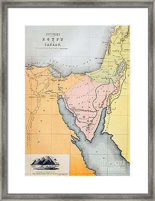 Map Depicting The Countries Between Egypt And Canaan Framed Print by English School