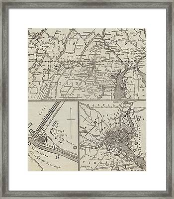 Map Illustrating General Lee's Advance Into Pennsylvania  Framed Print by John Dower