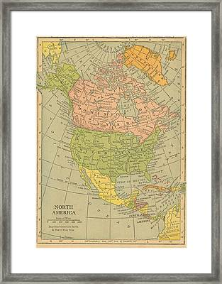 Framed Print featuring the drawing Map North America 1909 by Digital Art Cafe