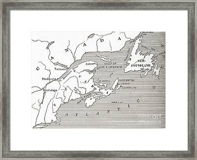 Map Of Acadia, 17th Century Colony Of New France In Canada Framed Print by American School