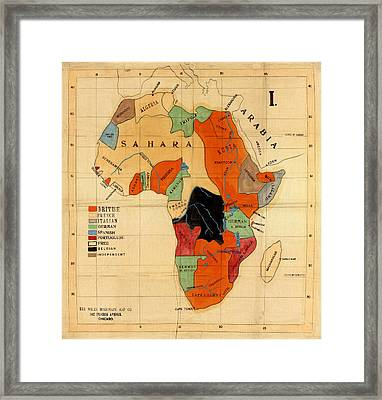 Map Of Africa 1908 Framed Print by Andrew Fare