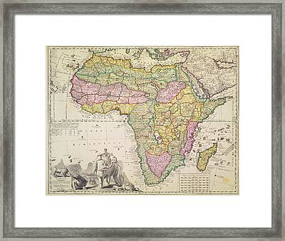 Map Of Africa Framed Print by Pieter Schenk