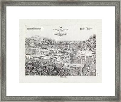 Framed Print featuring the drawing Map Of Agana Village Guam by A Berard