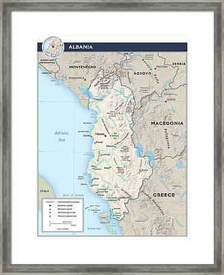 Map Of Albania Framed Print by Roy Pedersen