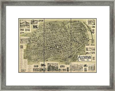 Map Of Allentown Pennsylvania  Framed Print by Pd