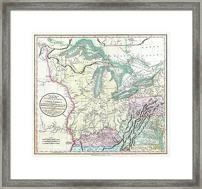 Map Of American Frontier And Great Lakes 1805 Framed Print