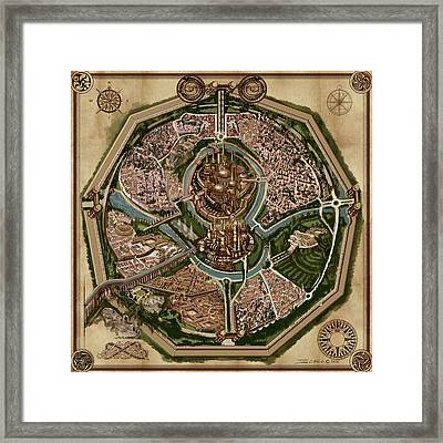 Map Of Ancient City Of Drith Framed Print by James Christopher Hill