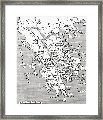 Map Of Ancient Greece Framed Print by English School