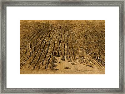 Map Of Baltimore Maryland Vintage Old Circa 1912 On Worn Distressed Canvas Framed Print by Design Turnpike