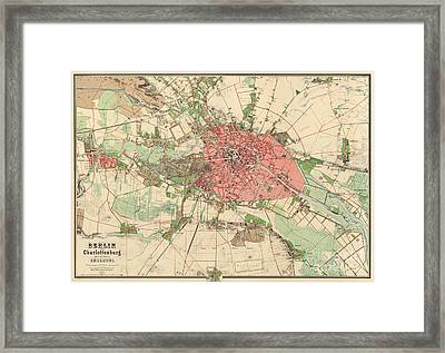 Map Of Berlin, 1857 Framed Print