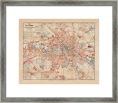 Map Of Berlin 1895 Framed Print by Andrew Fare