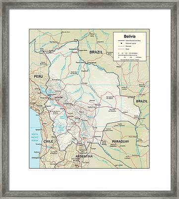 Map Of Bolivia Framed Print by Roy Pedersen