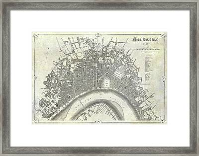 Map Of Bordeaux Circa 1840 Framed Print