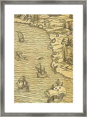 Map Of Brazilian Coast Framed Print by Giovanni Battista Ramusio