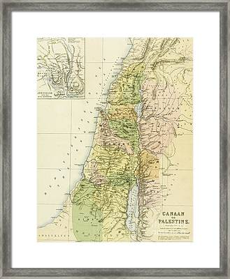 Map Of Canaan Or Palestine Framed Print