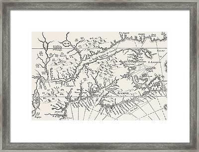 Map Of Canada And Nova Scotia Framed Print by Joannes De Salt