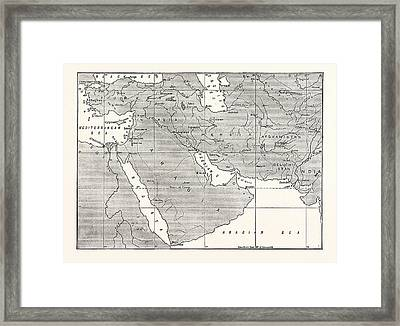 Map Of Central Asia Framed Print by American School