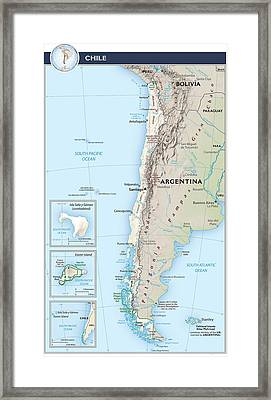 Map Of Chile 2  Framed Print by Roy Pedersen