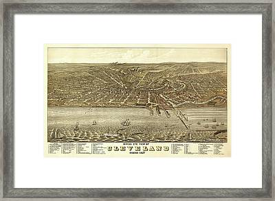 Map Of Cleveland 1877 Framed Print by Mountain Dreams