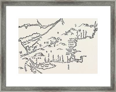 Map Of Colonial New England Framed Print by American School